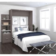 """Elite 79"""" Full Wall Bed kit in Bark Gray and White"""