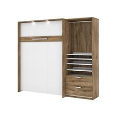 """Cielo Premium 89"""" Full Wall Bed kit in Rustic Brown and White"""