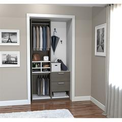 "Classic 39"" Reach-In Closet in Bark Gray and White"