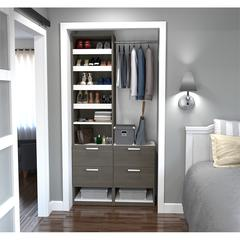 "Elite 39"" Reach-In Closet in Bark Gray and White"