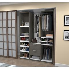 "Deluxe 59"" Reach-In Closet in Bark Gray and White"