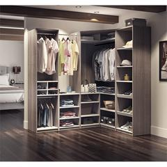 Classic Corner Walk-In Closet in Bark Gray and White