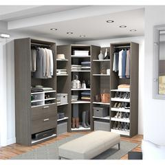Elite Corner Walk-In Closet in Bark Gray and White