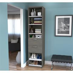 "19.5"" Shoe/Closet Storage Unit with drawers in Bark Gray and White"