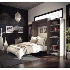 """Classic 124"""" Queen Wall Bed kit in Bark Gray and White"""