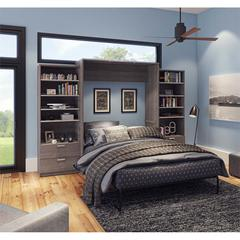 """Premium 124"""" Queen Wall Bed kit in Bark Gray and White"""