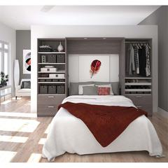 """Premium 118"""" Full Wall Bed kit in Bark Gray and White"""