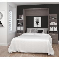 """Elite 98"""" Full Wall Bed kit in Bark Gray and White"""