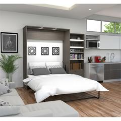 """Premium 95"""" Queen Wall Bed kit in Bark Gray and White"""