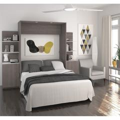 """Deluxe 98"""" Full Wall Bed kit in Bark Gray and White"""
