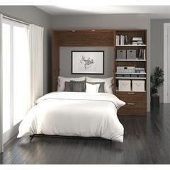 "Premium 89"" Full Wall Bed kit in Oak Barrel and White"