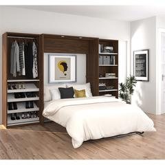 """Classic 118"""" Full Wall Bed kit in Oak Barrel and White"""