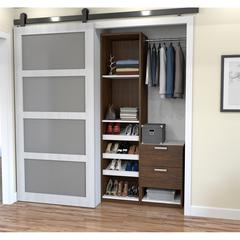 "Deluxe 39"" Reach-In Closet in Oak Barrel and White"