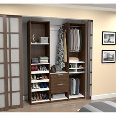 "Deluxe 59"" Reach-In Closet in Oak Barrel and White"