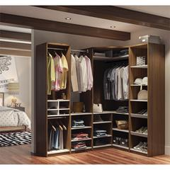 Classic Corner Walk-In Closet in Oak Barrel and White