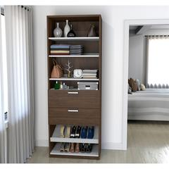 "29.5"" Shoe/Closet Storage Unit with drawers in Oak Barrel and White"