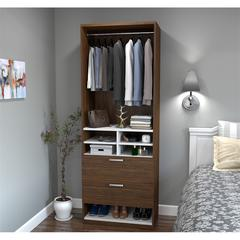 """29.5"""" Multi-Storage Cubby with drawers in Oak Barrel and White"""