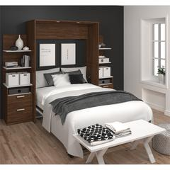 "Elite 98"" Full Wall Bed kit in Oak Barrel and White"