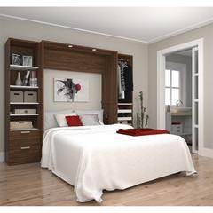 "Premium 98"" Full Wall Bed kit in Oak Barrel and White"