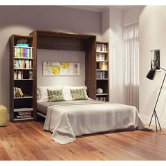 """Classic 104"""" Queen Wall Bed kit in Oak Barrel and White"""