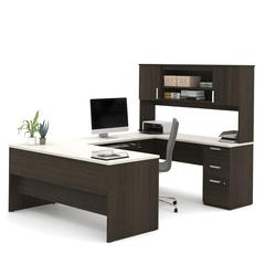 Ridgeley U-shaped Desk in Dark Chocolate & White Chocolate