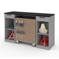 Bestar Lincoln 2-Piece Workbench and Mobile Storage Unit Set in Silver Grey & Black