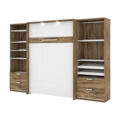 """Cielo Premium 118"""" Full Wall Bed kit in Rustic Brown and White"""