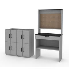 Bestar Lincoln 4-Piece Workbench and 4 Stackable Cabinets Set in Silver Grey & Black
