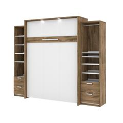 """Cielo Premium 104"""" Queen Wall Bed kit in Rustic Brown and White"""