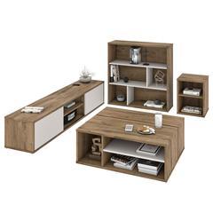 Fom 4-Piece Living Room Set in Rustic Brown & Sandstone