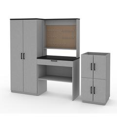 Bestar Lincoln 4-Piece Workbench, Armoire and 2 Stackable Cabinets Set in Silver Grey & Black