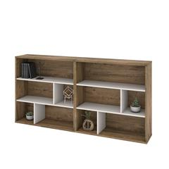 Fom 2-Piece Asymmetrical Shelving Unit Set in Rustic Brown & Sandstone