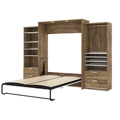 """Cielo Premium 124"""" Queen Wall Bed kit in Rustic Brown and White"""