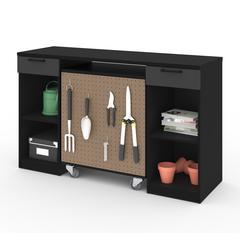 Bestar Lincoln 2-Piece Workbench and Mobile Storage Unit Set in Black & Graphite