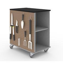Bestar Lincoln Mobile Storage Cabinet in Silver Grey & Black