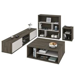 Fom 4-Piece Living Room Set in Walnut Grey & Sandstone