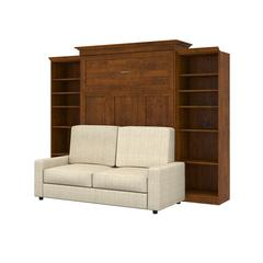 Versatile 4-Piece Queen Wall Bed, Two Storage Units and Sofa Set - Tuscany Brown & Tan