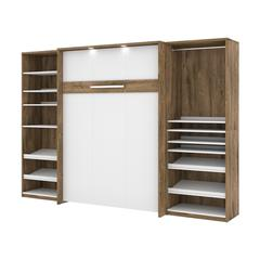 """Cielo Classic 118"""" Full Wall Bed kit in Rustic Brown and White"""