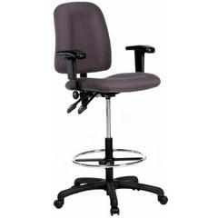 Contoured Drafting Chair with Adjustable Arms - Gray Fabric