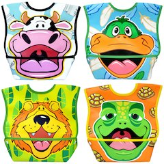Dexbaby Waterproof Dura-Bib Big Mouth LARGE, Patented Catch-All Pocket, 4-Pack (Lion, Cow, Duck, Turtle)