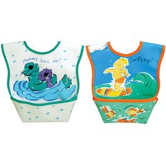 Dexbaby Waterproof Dura-Bib Small,, Patented Catch-All Pocket, 2-Pack(Surf, Otters)