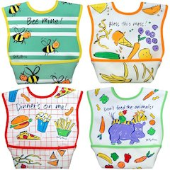 Dexbaby Waterproof Dura-Bib Large, Patented Catch-All Pocket, 4-Pack