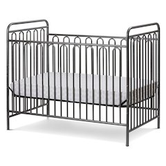 Trinity 3 in 1 Convertible Full Sized Metal Crib in Pebble Grey