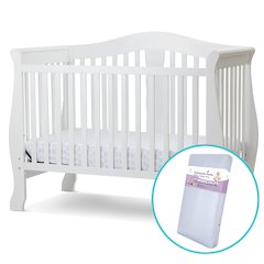 Avalon 4 in I Convertible Crib/Innerspring Mattress in White