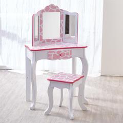 Fashion Prints Vanity & Stool Set with Mirror - Giraffe (Baby Pink / White)
