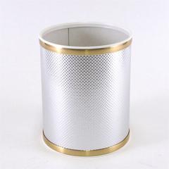 Bath Jewelry Diamond Pattern Round Vinyl Wastebasket, Silver/Gold