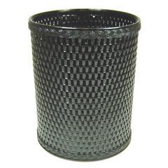 Chelsea Collection Decorator Color Round Wicker Wastebasket, Black