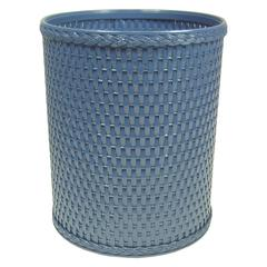 Chelsea Collection Decorator Color Round Wicker Wastebasket, Coastal Blue
