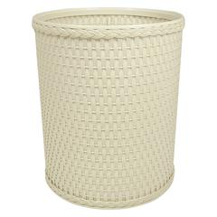 Chelsea Collection Decorator Color Round Wicker Wastebasket, Cream