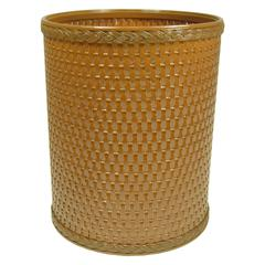 Chelsea Collection Decorator Color Round Wicker Wastebasket, Nutmeg